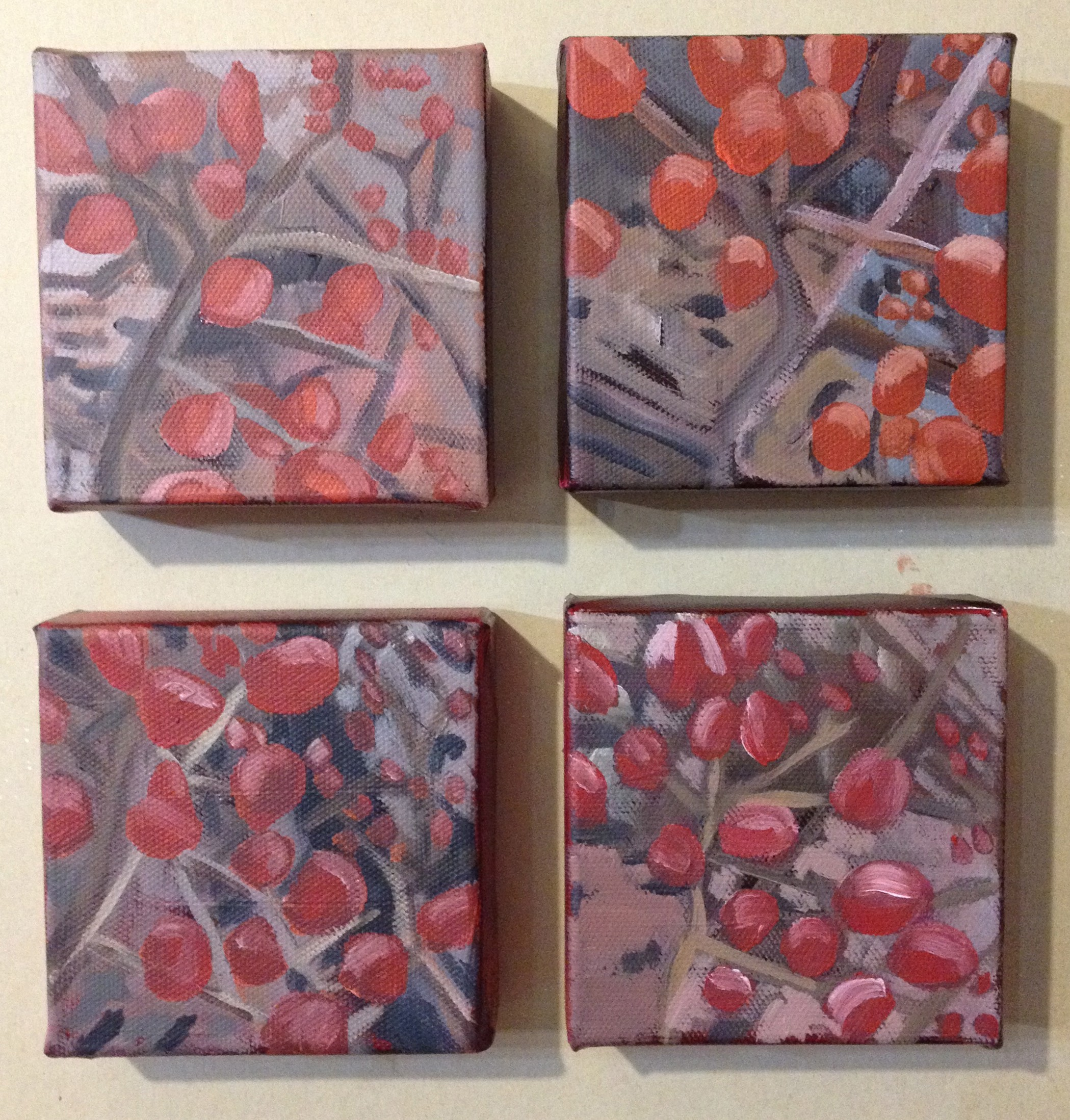 "Justine Lasdin Springer ""small dogwood berries"" (4) 4x4 Acrylic on Canvas $195"