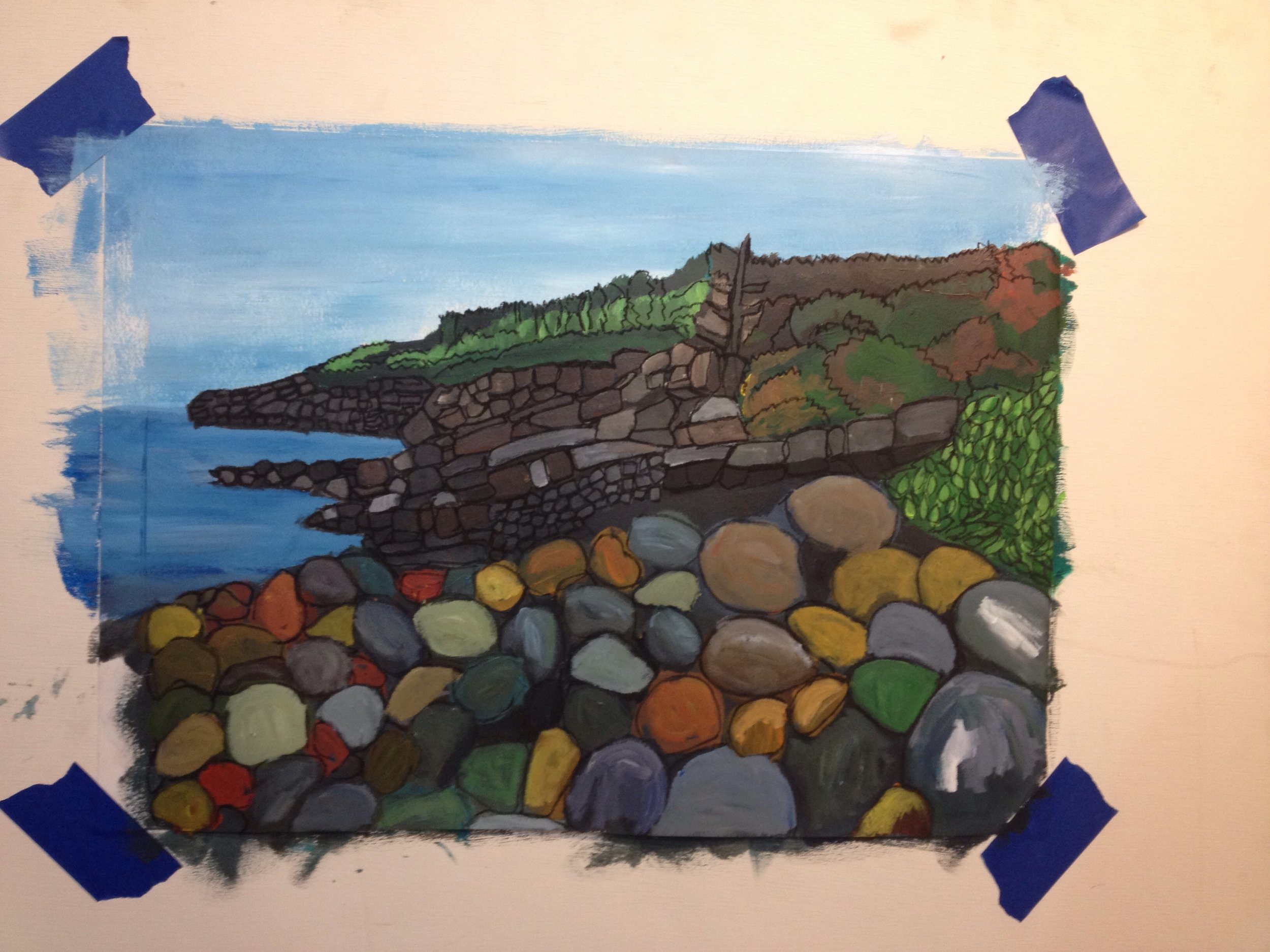 "Justine Lasdin Springer ""Pebble 2"" Acrylic on Paper $85"