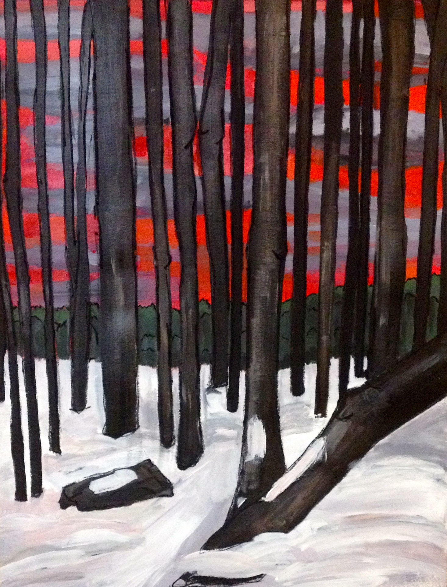 "Justine Lasdin Springer ""In the Pines"" Acrylic on paper $85"