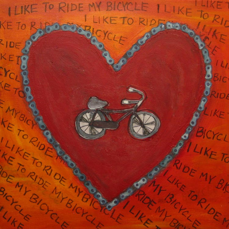 "Justine Lasdin Springer ""i like to ride my bicycle"" Acrylic on Canvas 18""x18""  Poster will be 10""x10"""