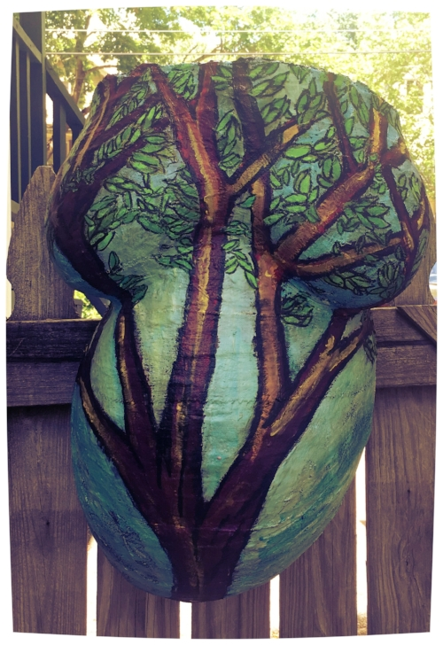 Trees of growth - Belly cast with Acrylic Painting
