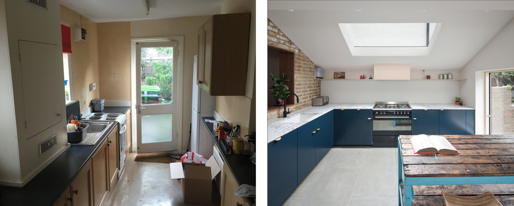 Picture Frame House: Before and after the works to the kitchen
