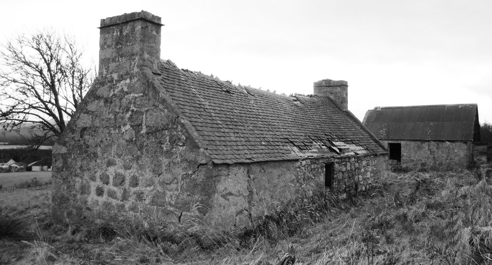 The original derelict cottage and barn on site at Torispardon provided inspiration for the final design.