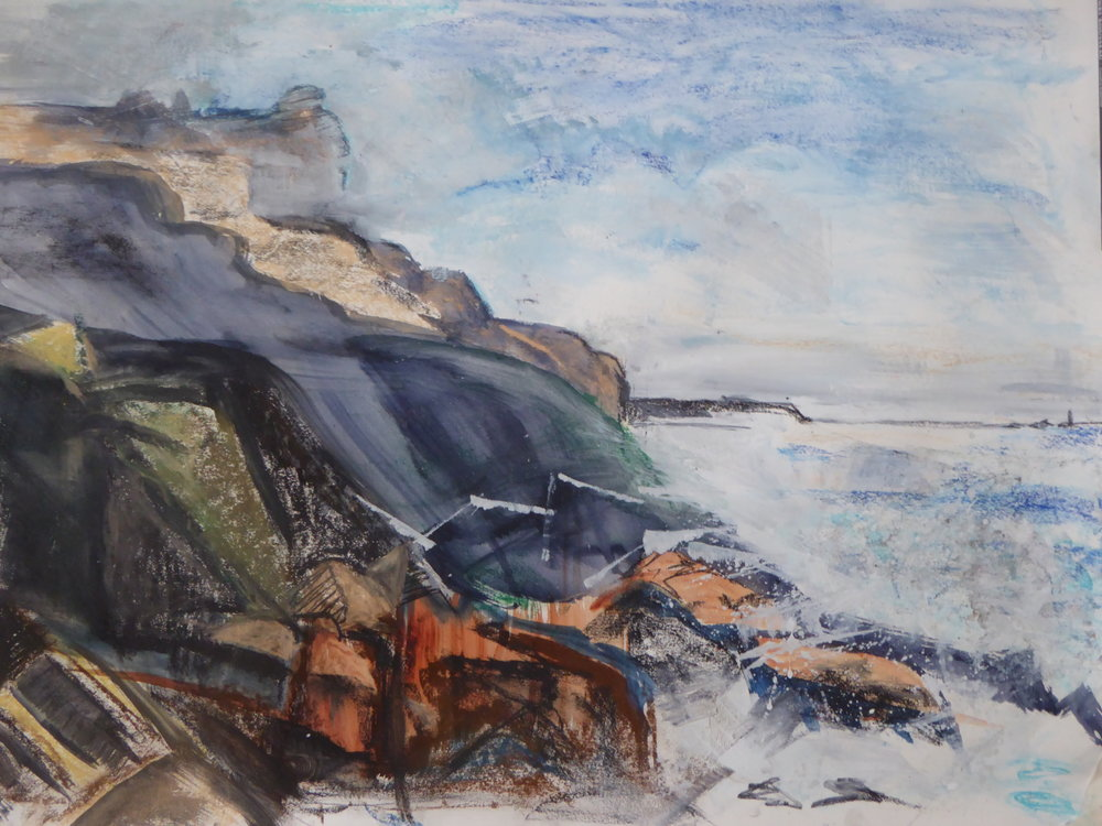 Cape Cornwall: Rock and Sea - mixed media on paper