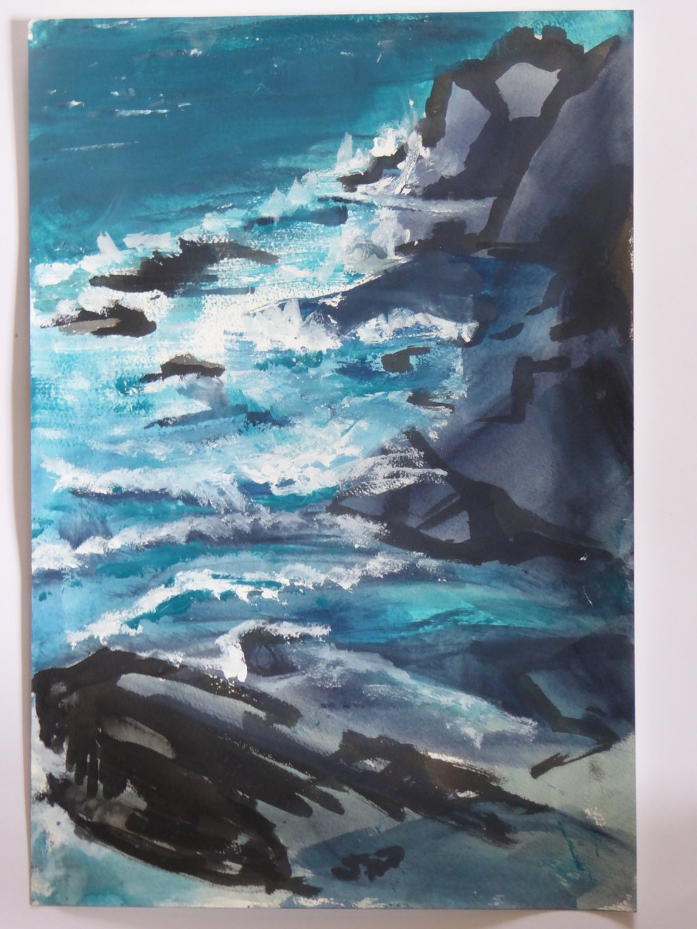 Cape Cornwall: Waves 2 - mixed media on paper