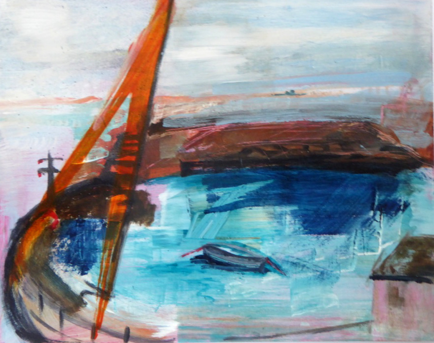 Mousehole Harbour After Rain - mixed media on board