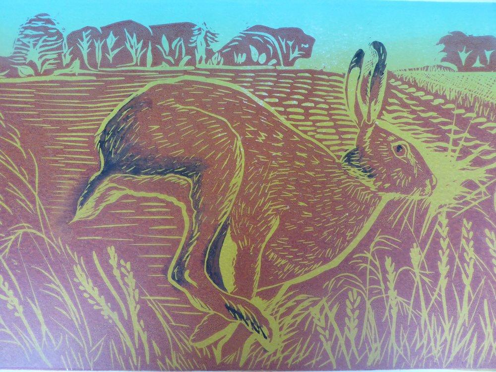 Harvest Hare - two blocks - 42 x34cm unframed
