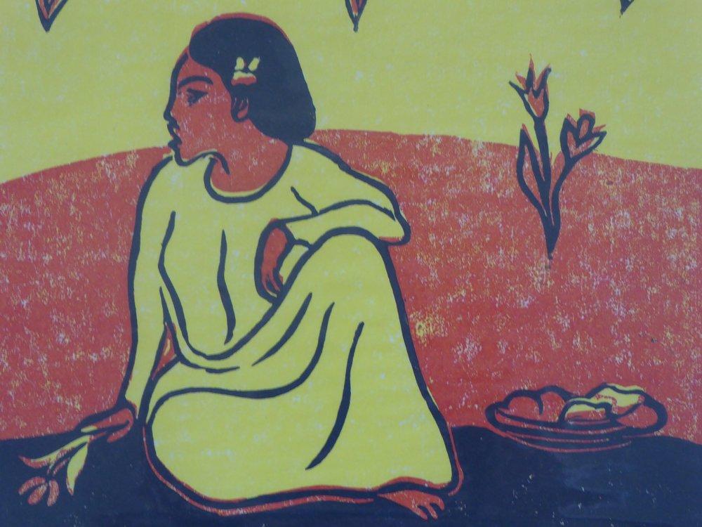 After Gauguin (reduction lino cut) 35 x 36cm