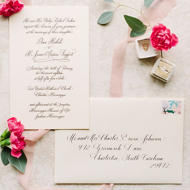 So much fun working with @danafisher_ on her classic black calligraphy letterpress wedding invitations! 📸 by the talented @wildcottonphoto