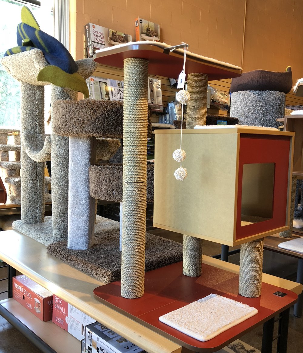 There are many styles of scratching posts available, some incorporated into cat perches.