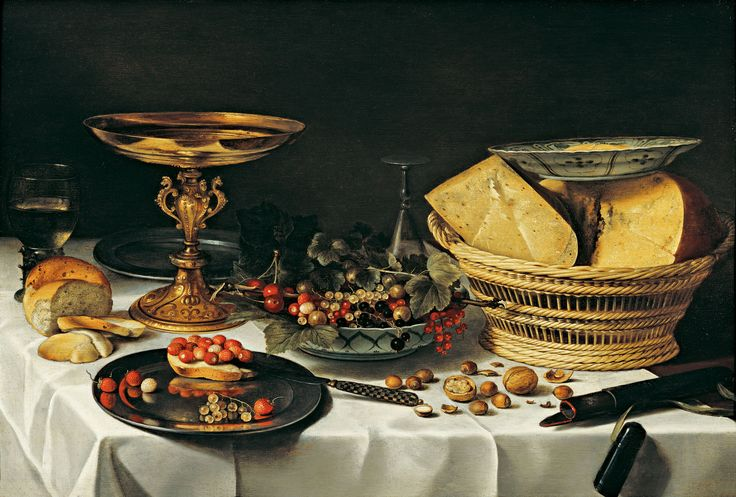 Still Life With A Basket Of Cheese by Peter Claisz, 1597 - 1661