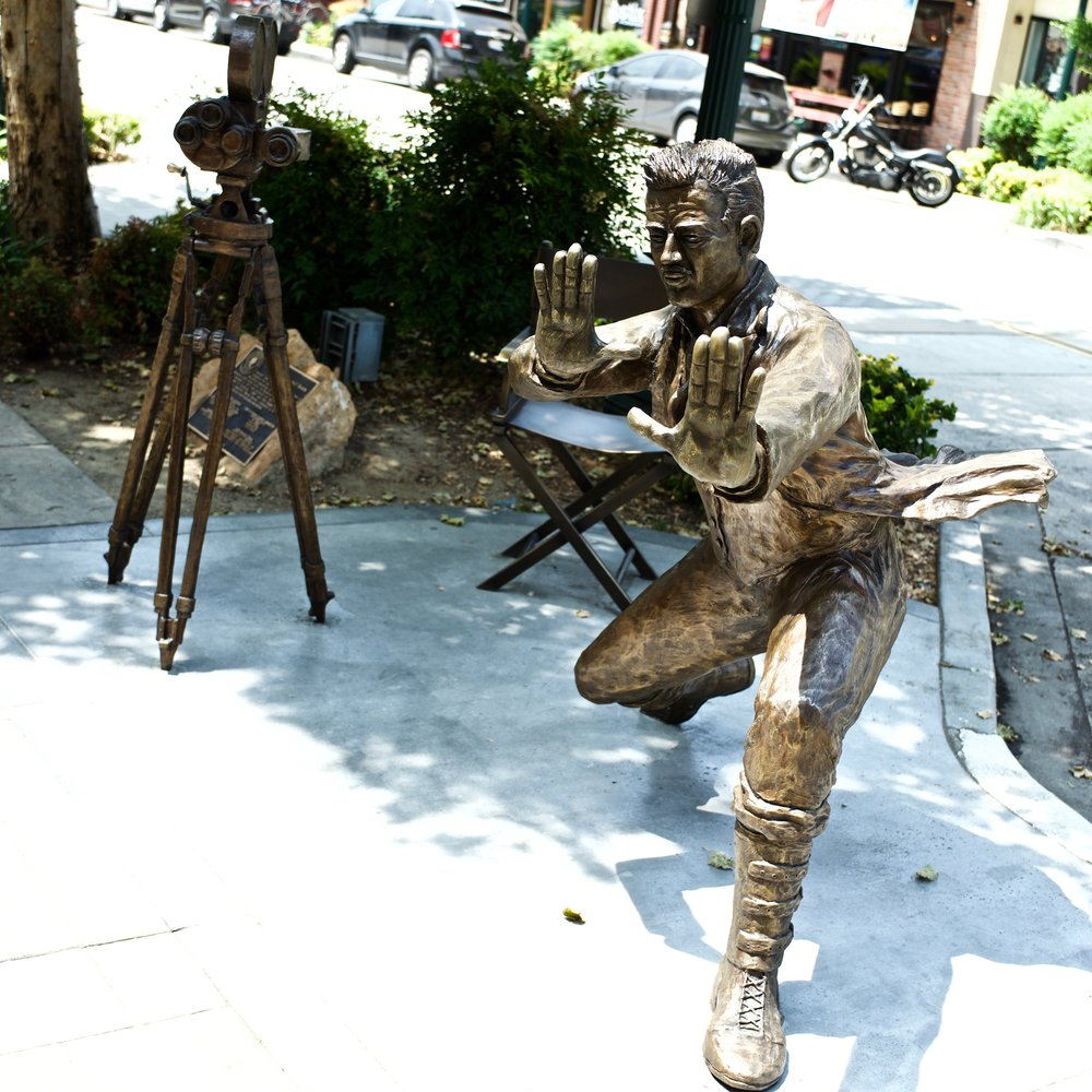 Statue in front of the Krikorian Theater