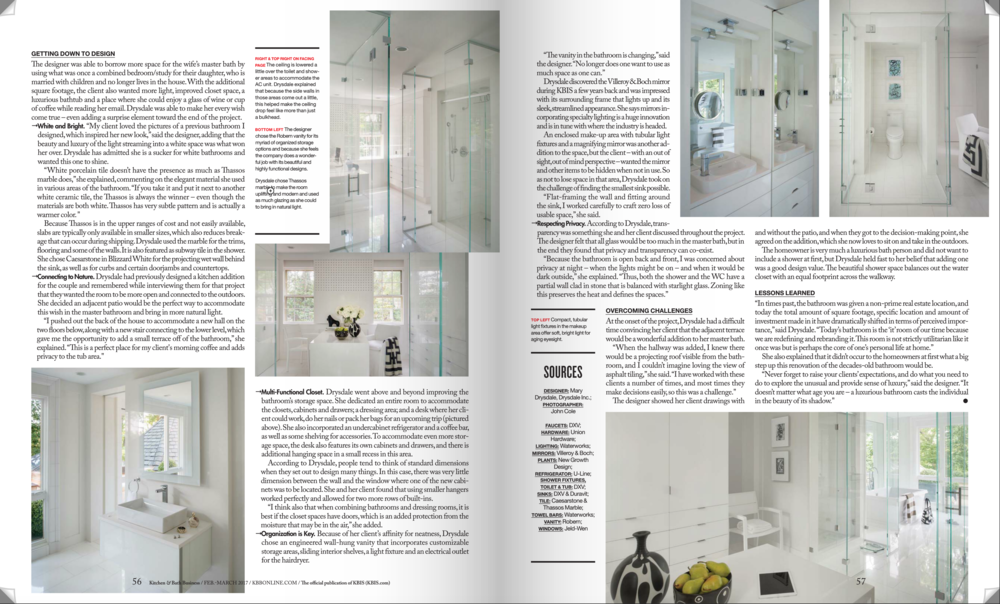 Kitchen & Bath Business Magazine  February/March 2017 Issue Drysdale Design Associates