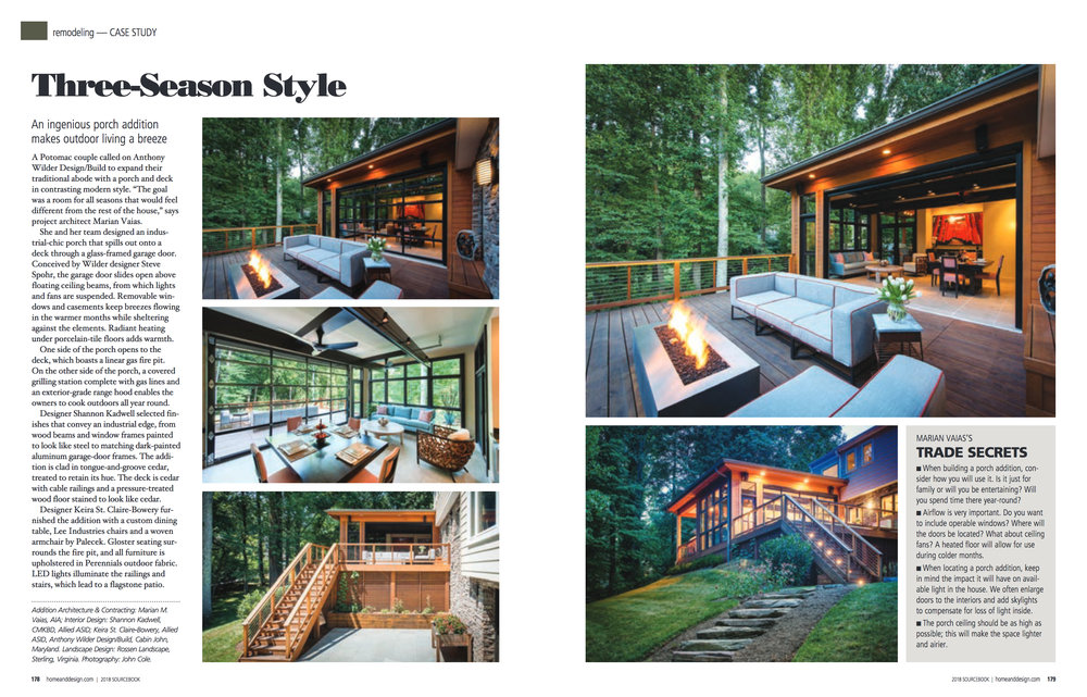 Home & Design Magazine  Sourcebook 2018 Anthony Wilder Design Build