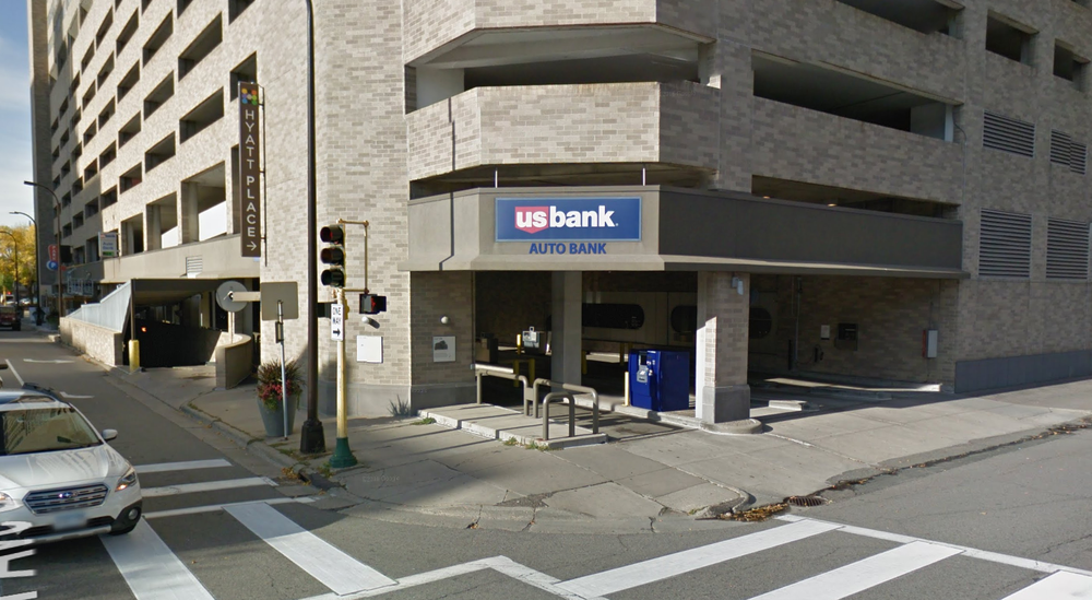 Pretty bad ground-level drive-through US Bank in Centre Village downtown