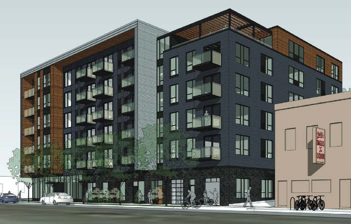 A 98 unit apartment project with 45 parking spaces in Northeast