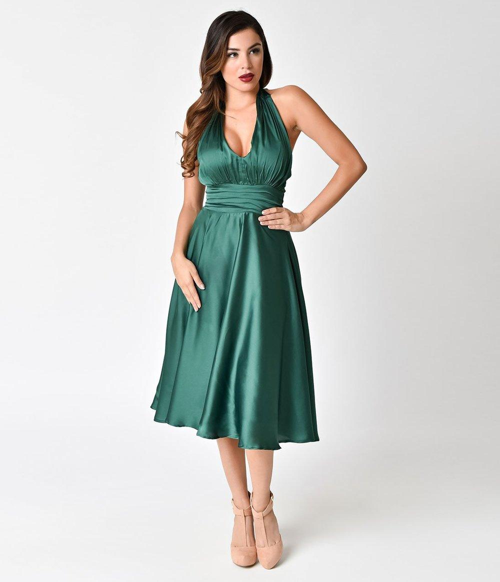 Unique_Vintage_1950s_Emerald_Green_Satin_Halter_Hyannis_Swing_Dress_3.jpg