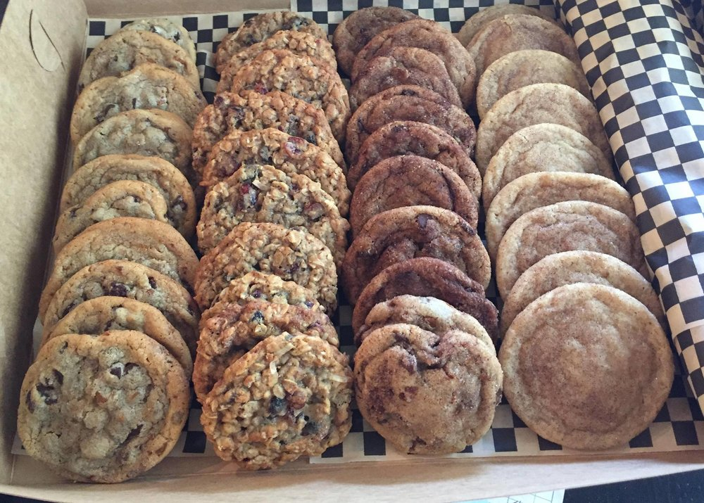 From left to right: The Ultimate Chocolate Chip, The Loaded Oatmeal, The Chocodoodle, The Snickerdoodle