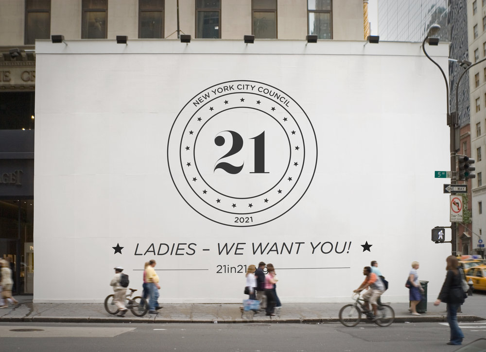 Achieving gender parity in the New York City Council by  2021  - 21 in '21 seeks to elect, at least, 21 women to the New York City Council's body of 51 members by 2021. Women are significantly underrepresented within government. The 21 in '21 nonpartisan effort will prepare women candidates to run for City Council through support, training, and networking.