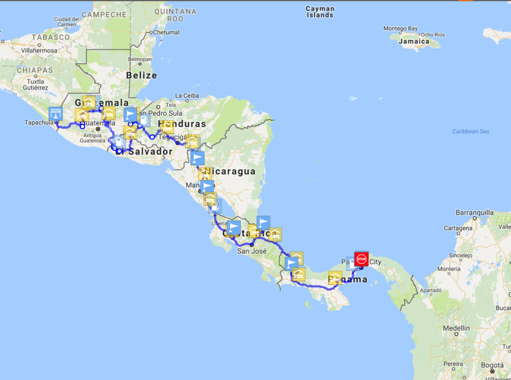 And through Central America, until we reach the infamous Darien Gap.