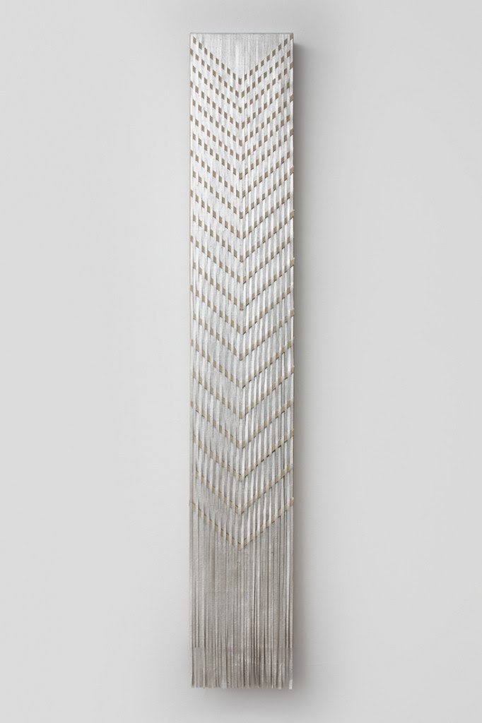 South, 2014, Composition metal leaf on linen on wood panel, 58 x 9 inches