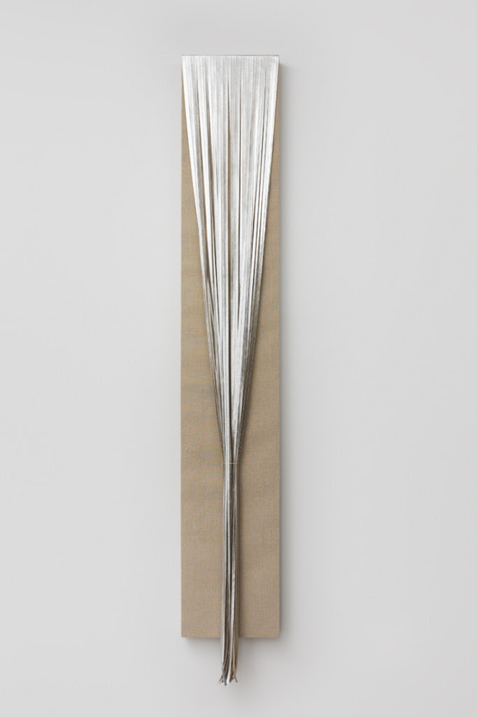 Uma , 2014, Composition metal leaf on linen on wood panel, 58 x 9 inches