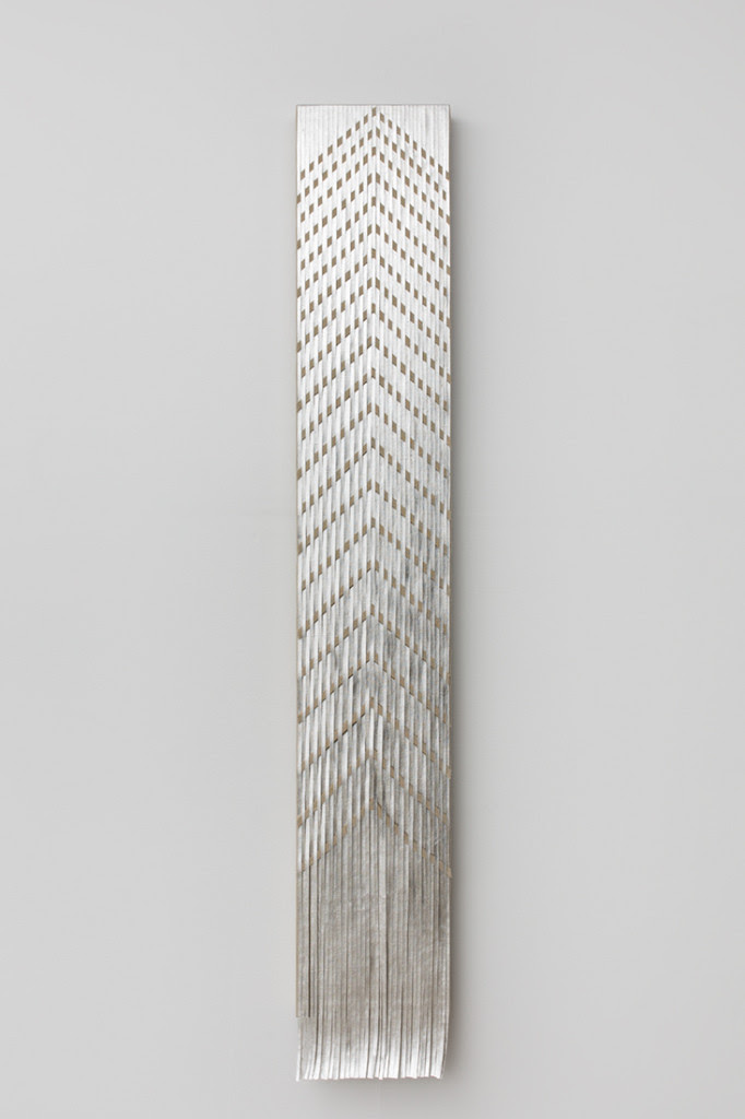 North, 2014, Composition metal leaf on linen on wood panel, 58 x 9 inches