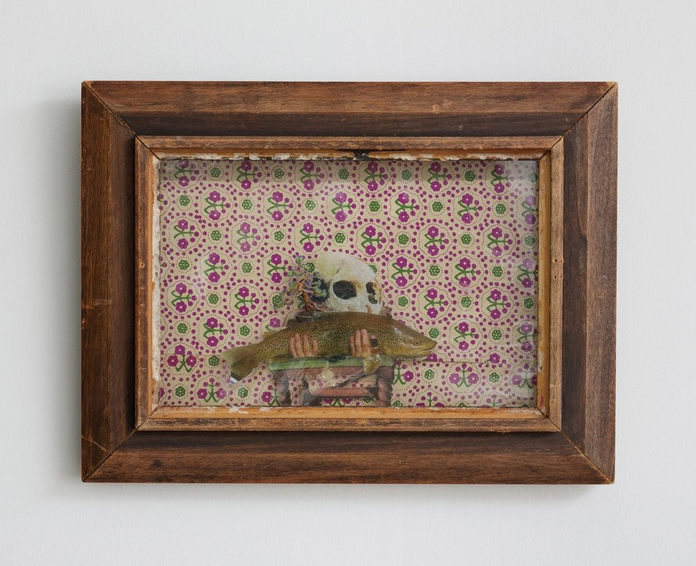 Still Life with Vanitas Symbols , 2012   Xerox, vinyl, book board, decorated paper, vintage wood frame, 12 x 9 inches