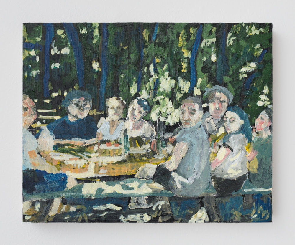 Polina Barskaya.  Picnic , 2014, Oil on panel, 8 x 10 inches