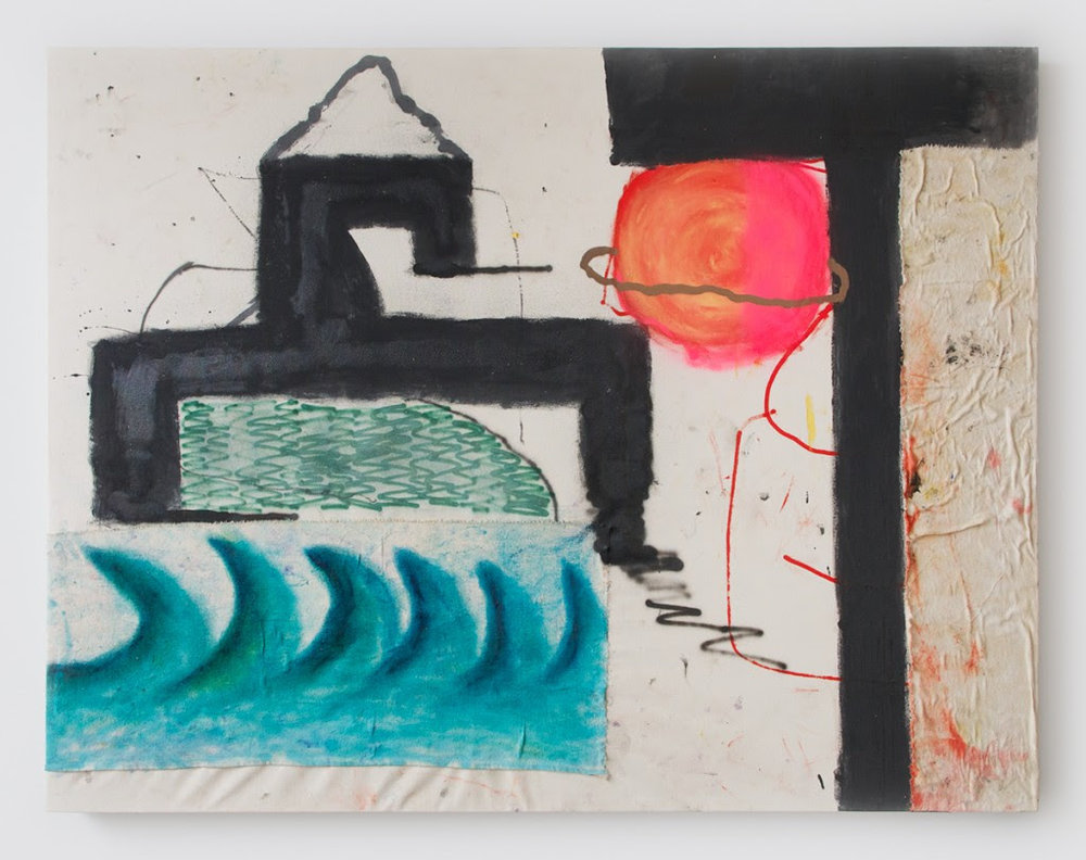 Gerasimos Floratos. Breathing Temple, 2014, Oil, acrylic, spray paint, glue & cotton on canvas, 52 x 62 inches