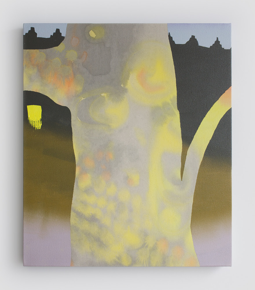 Melissa Brown. Brighton AM, 2013, Oil, spray paint & dye on canvas, 28 x 24 inches