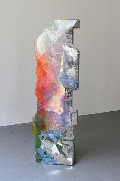 Amy Brener.  Jotter , 2013, Resin, pigment, fresnel lens, glass, plexiglass, found object, 35 x 11 x 5 inches