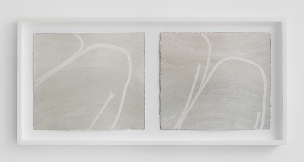 Untitled (legs), 2013, Diptych, oil on paper (framed), 19 x 34 inches