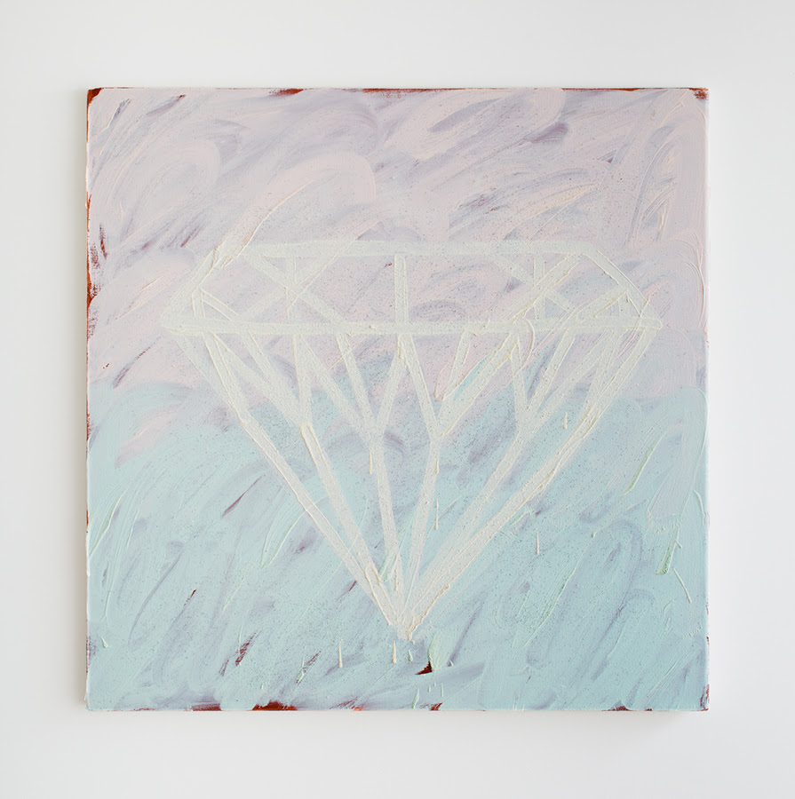 Loie's Diamond , 2013, Oil and glitter on canvas, 36 x 36 inches
