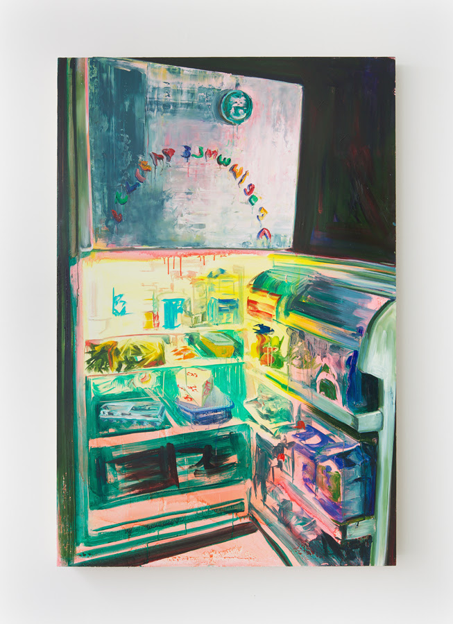 Rachel Schmidhofer.  Fridge , 2012, Oil on panel, 60 x 40 inches