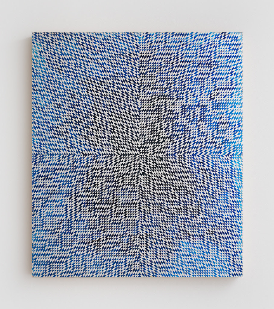 Equinox I , 2014, Oil and composition metal leaf on wood panel, 25 x 21.5 inches