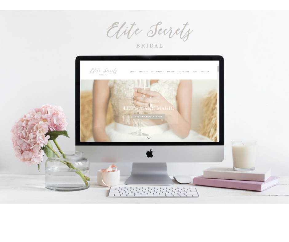 Elite Secrets Bridal web site mockup