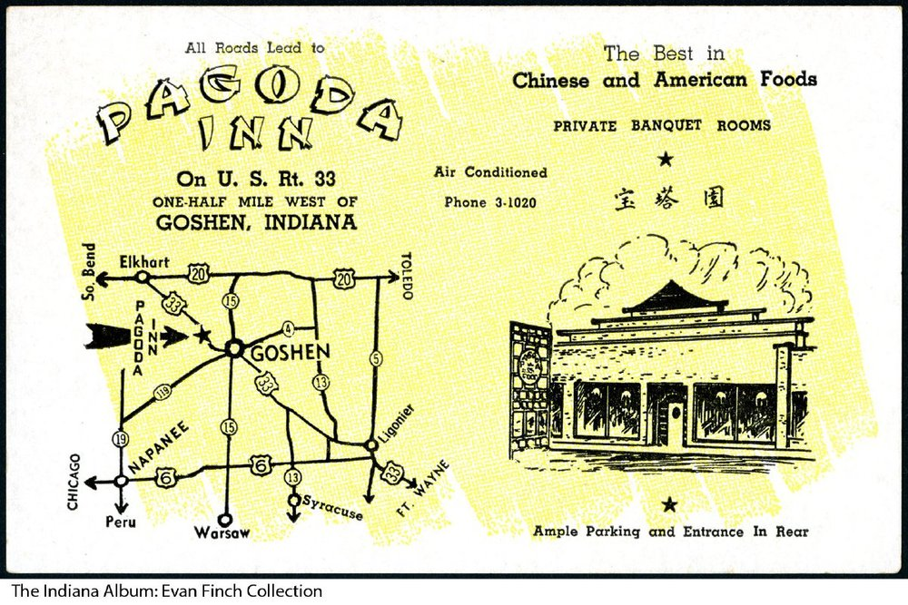 A postcard for Pagoda Inn's first location.