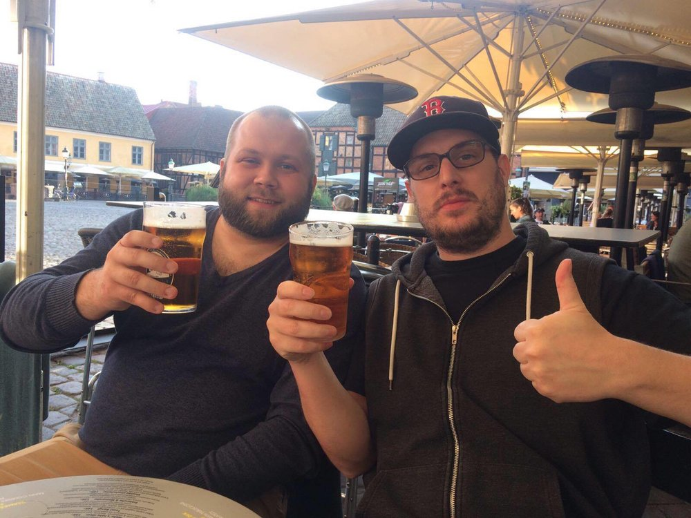 Eyþór and myself enjoying a beer in Malmö, Sweden. Super random, but super super nice.