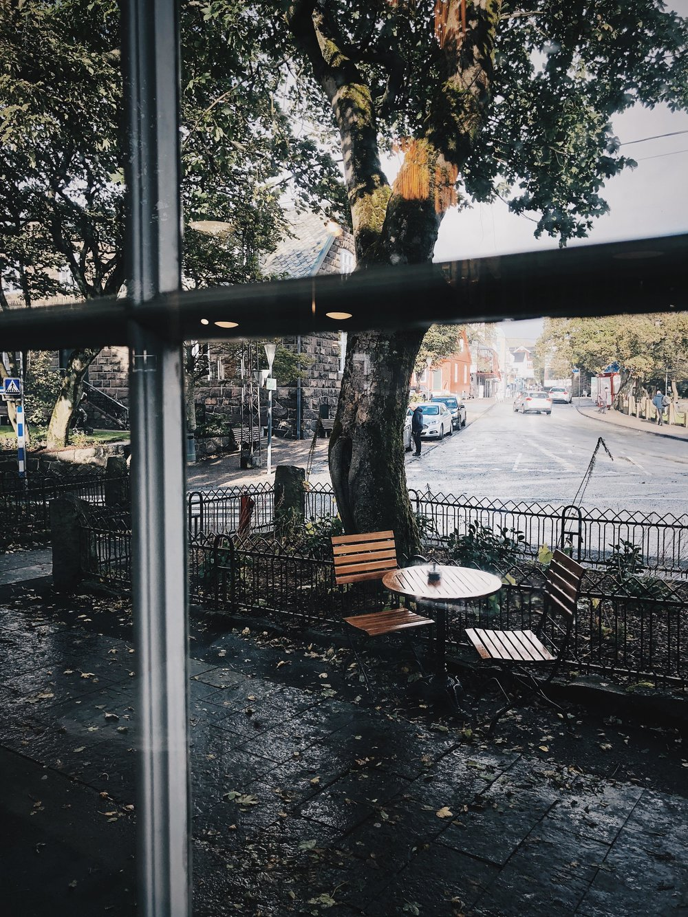 Lots of cozy coffeehouses to take a break, and enjoy the city, staring through the windows.