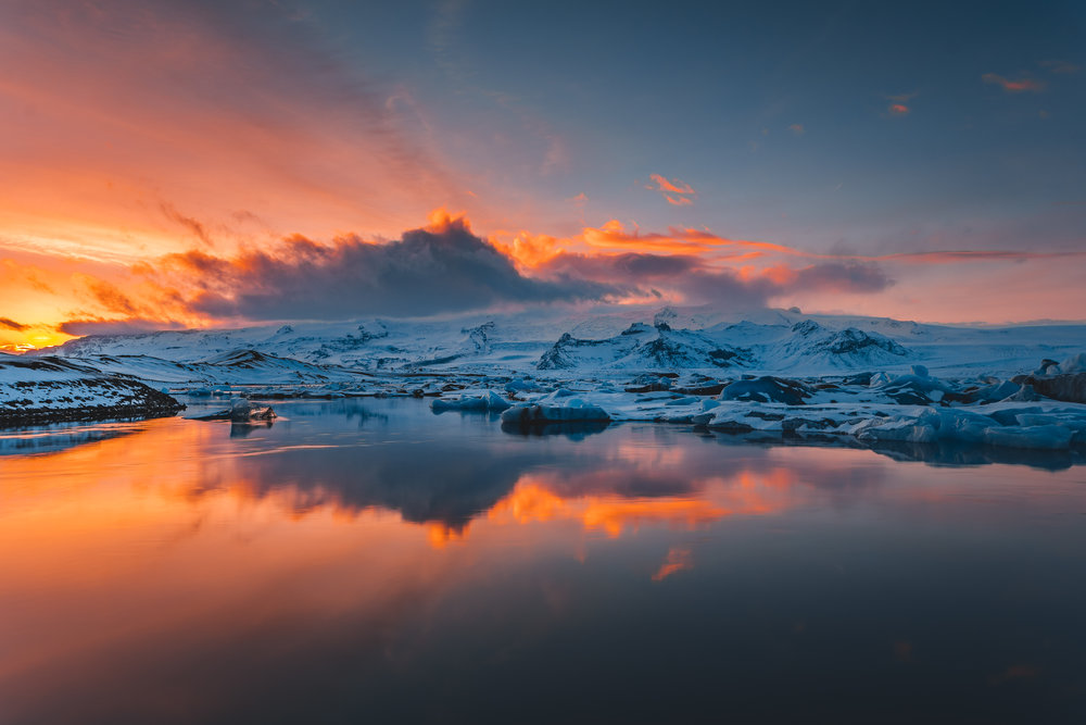 Glacier Lagoon during sunset