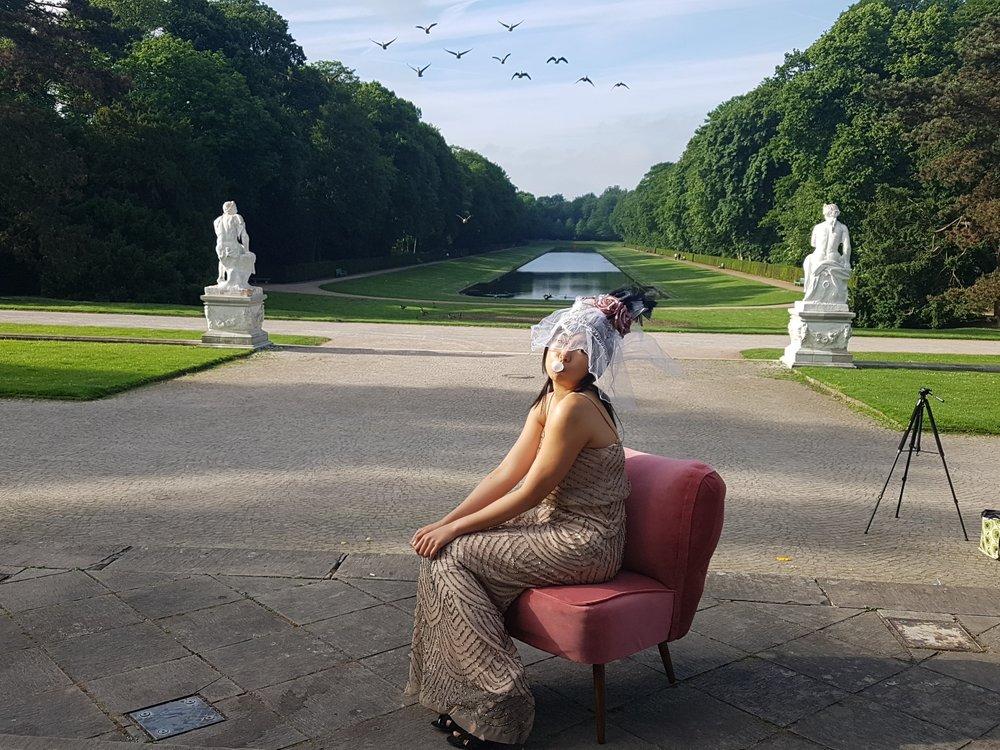 Lynda sparshatt princess diaries shoot pink cocktail chair headdress