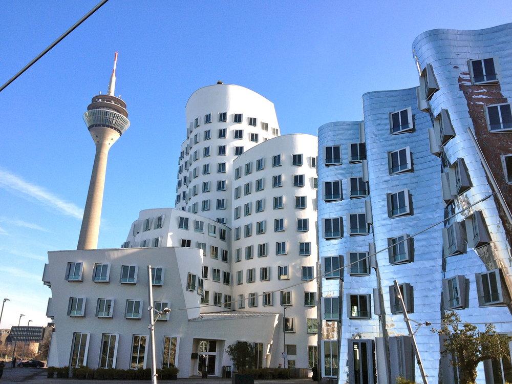 Dusseldorf rhein turm and ghery buildings