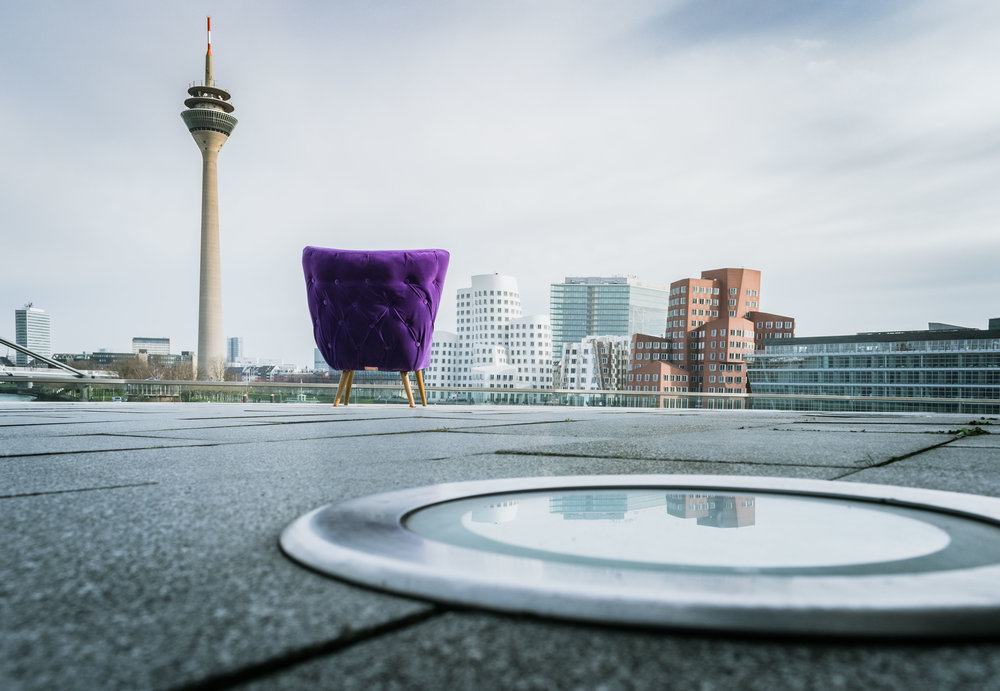 Ultra violet chair photographed in Düsseldorf Medienhafen