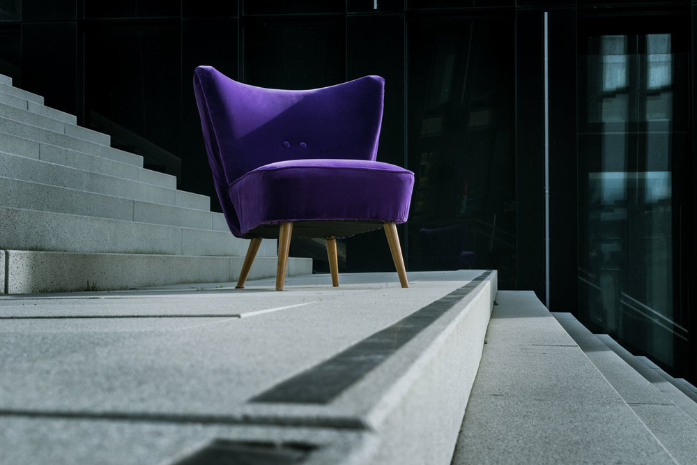 Ultra violet velvet accent chair