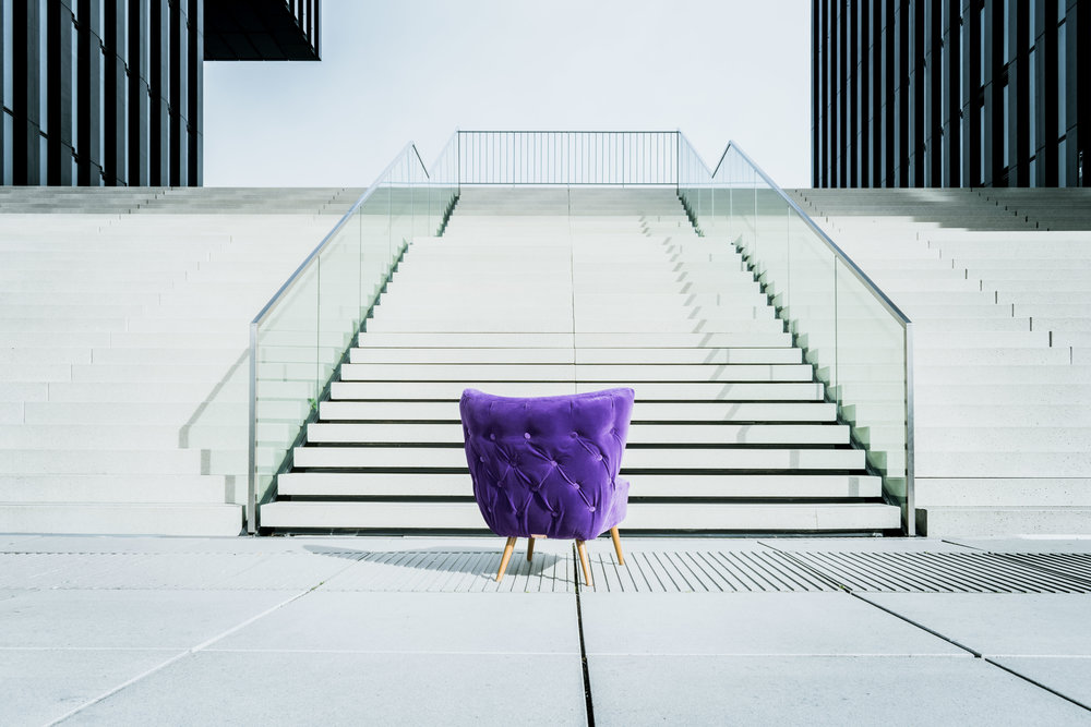 Purple chair shot in futuristic Düsseldorf