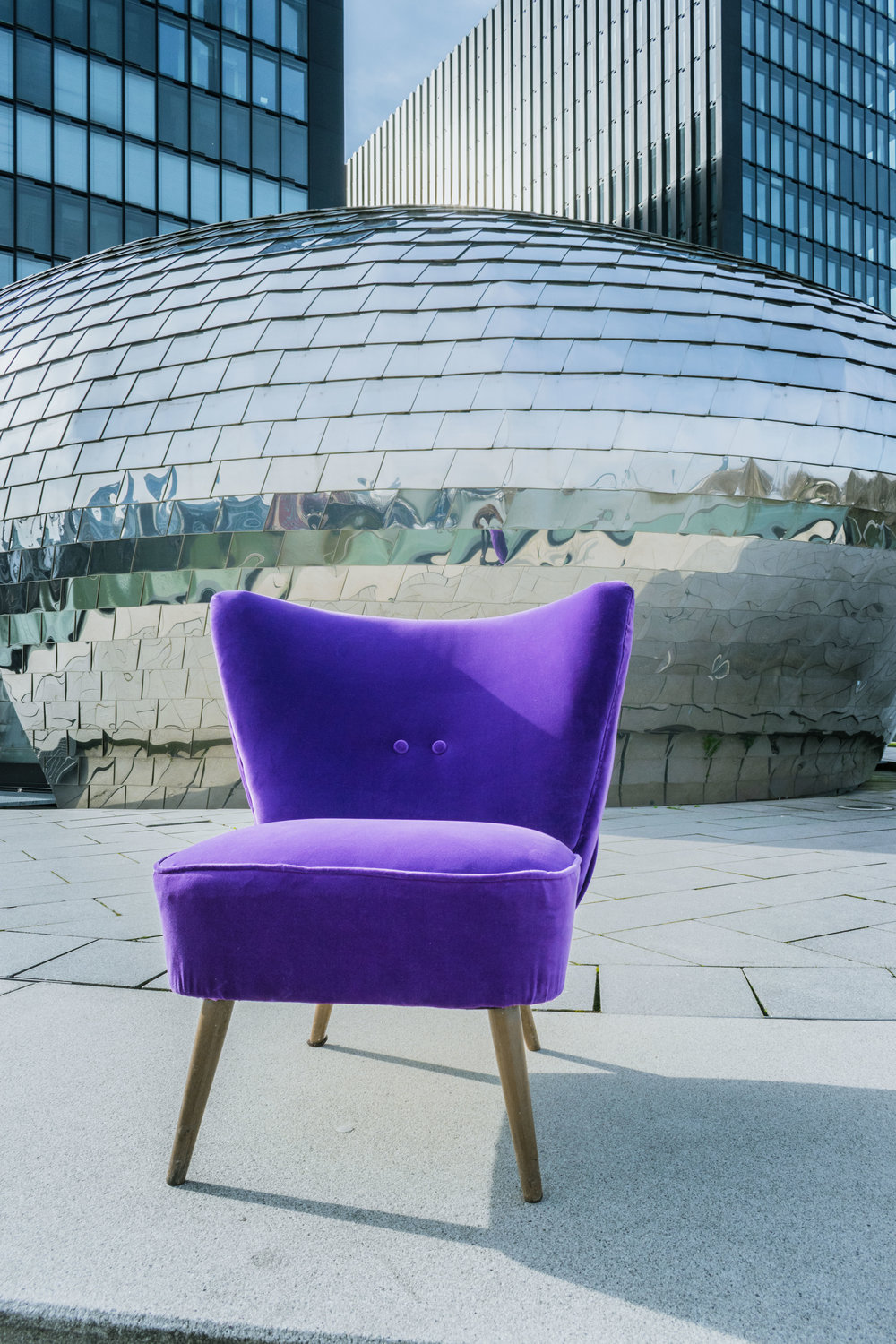 Made To Order | Ultra Violet Button Back Velvet Cocktail Chair