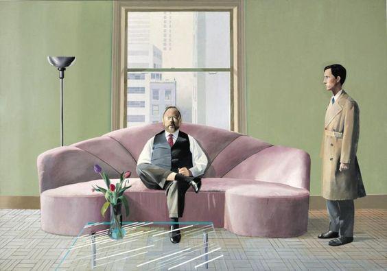 david hockney interior teal and art deco sofa