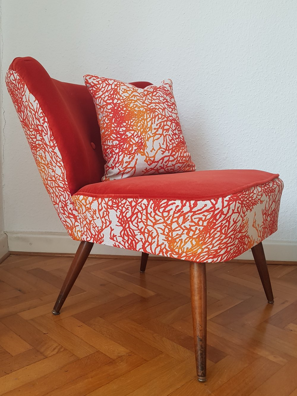 living coral terracotta velvet chair