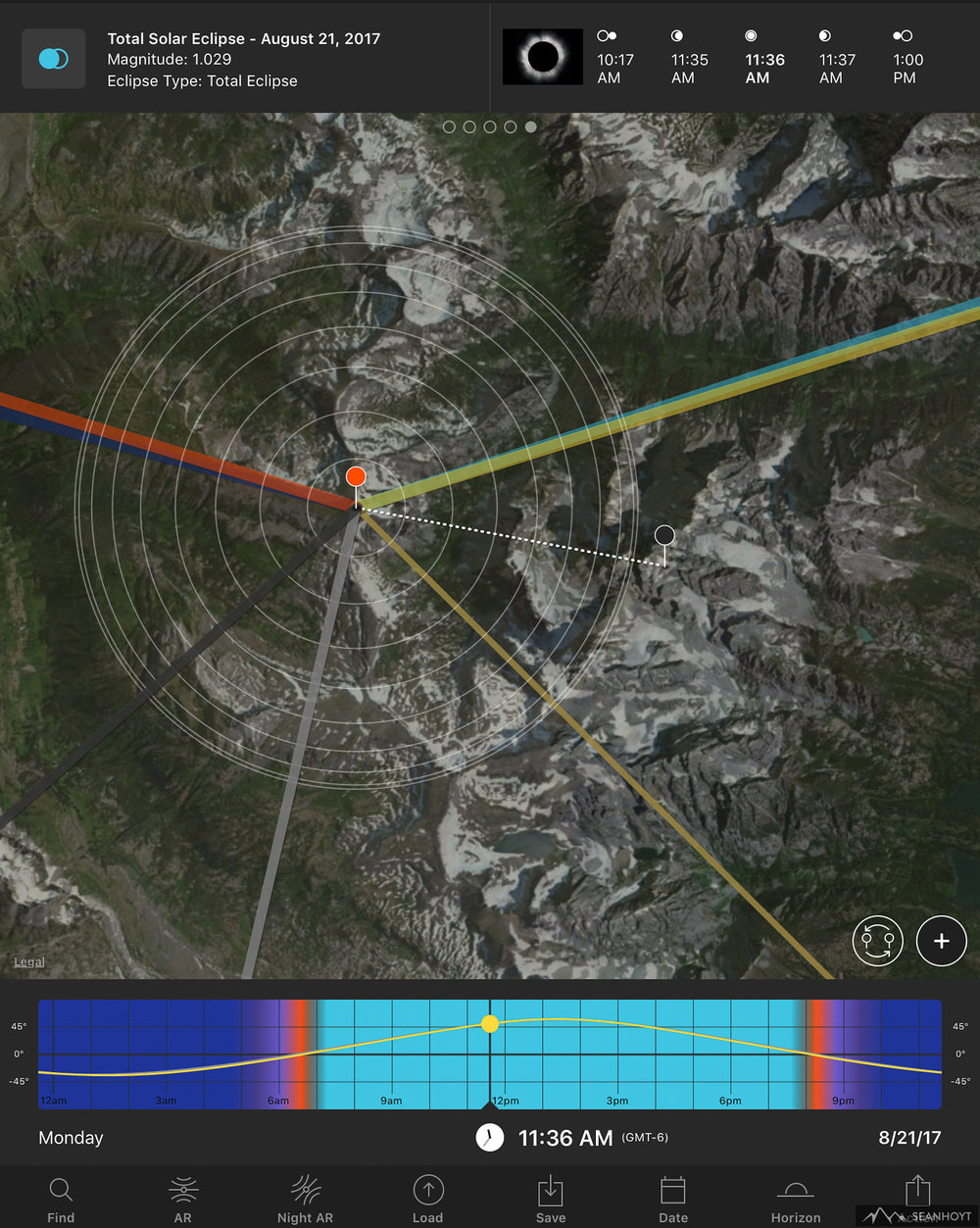 Photopills App for iOS - Table Mountain is the Orange Pin. The tallest peak, Grand Teton, is the Black pin. The thin yellow line is the sun and moon during eclipse to the Southwest.